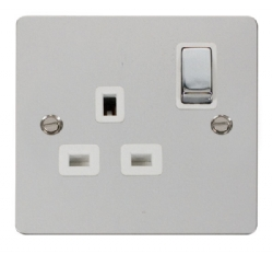 Click Define Polished Chrome Single Switched Socket FPCH535WH