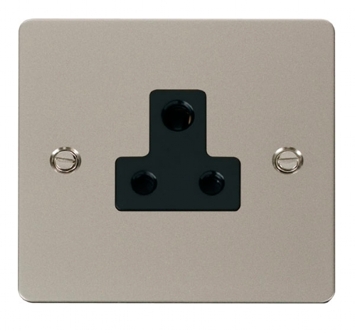Click Define Pearl Nickel 5A Single Round Pin Socket FPPN038BK
