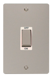 Click Define Pearl Nickel 2 Gang 45A DP Switch FPPN502WH