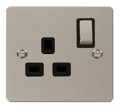 Click Define Pearl Nickel 13A Single Switched Socket FPPN535BK