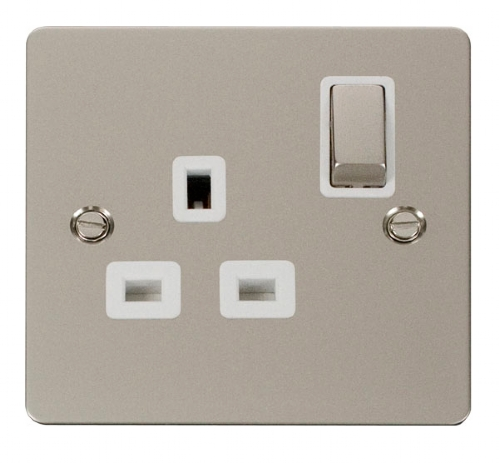 Click Define Pearl Nickel 13A Single Switched Socket FPPN535WH
