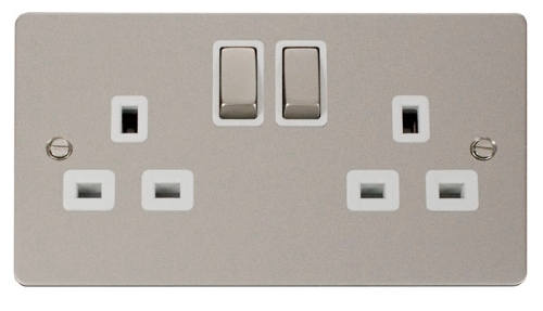 Click Define Pearl Nickel 13A Double Switched Socket FPPN536WH