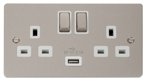 Click Define Pearl Nickel USB Double Switched Socket FPPN570WH