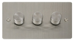 Click Define Stainless Steel 3 Gang 2 Way Dimmer Switch FPSS153