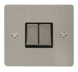 Click Define Stainless Steel 2 Gang 2 Way Switch FPSS412BK