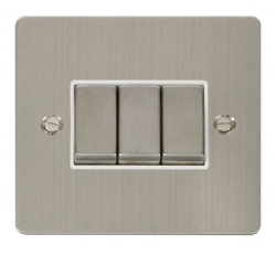 Click Define Stainless Steel 3 Gang 2 Way Switch FPSS413WH