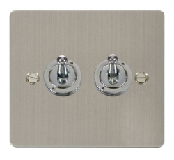 Click Define Stainless Steel 2 Gang 2 Way Toggle Switch FPSS422