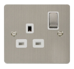 Click Define Stainless Steel Single Switched Socket FPSS535WH