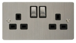 Click Define Stainless Steel Double Switched Socket FPSS536BK