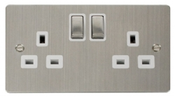 Click Define Stainless Steel Double Switched Socket FPSS536WH