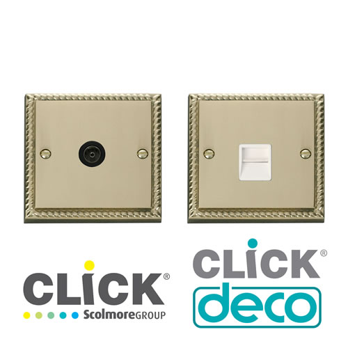 Deco Georgian Brass TV, Data,Tel