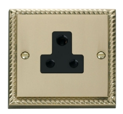 Click Deco Georgian Brass 5A Single Round Pin Socket GCBR038BK