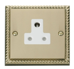Click Deco Georgian Brass 5A Single Round Pin Socket GCBR038WH