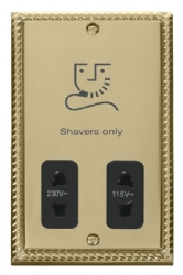 Click Deco Georgian Brass Dual Voltage Shaver Socket GCBR100BK