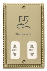 Click Deco Georgian Brass Dual Voltage Shaver Socket GCBR100WH