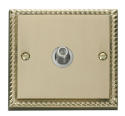Click Deco Georgian Brass Non-Isolated Sat Socket GCBR156WH