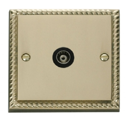 Click Deco Georgian Brass Isolated Coaxial Socket GCBR158BK