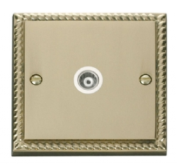 Click Deco Georgian Brass Isolated Coaxial Socket GCBR158WH
