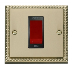 Click Deco Georgian Brass 1G 45A Double Pole Switch GCBR200BK