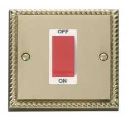 Click Deco Georgian Brass 1G 45A Double Pole Switch GCBR200WH
