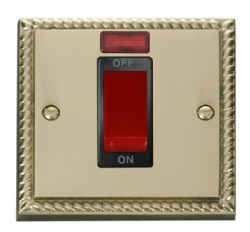 Click Deco Georgian Brass 1G 45A DP Switch + Neon GCBR201BK
