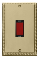 Click Deco Georgian Brass 2G 45A DP Vertical Switch GCBR202BK