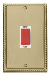 Click Deco Georgian Brass 2G 45A DP Vertical Switch GCBR202WH