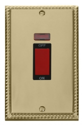 Click Deco Georgian Brass 45A Vertical DP Switch Neon GCBR203BK