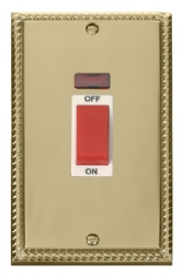 Click Deco Georgian Brass 45A Vertical DP Switch Neon GCBR203WH