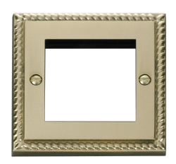 Click Deco Georgian Brass New Media Twin Aperture Plate GCBR311