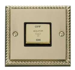 Click Deco Georgian Brass 3 Pole Fan Isolator Switch GCBR520BK