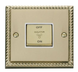 Click Deco Georgian Brass 3 Pole Fan Isolator Switch GCBR520WH