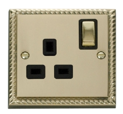 Click Deco Georgian Brass 13A Single Switched Socket GCBR535BK