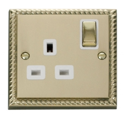 Click Deco Georgian Brass 13A Single Switched Socket GCBR535WH