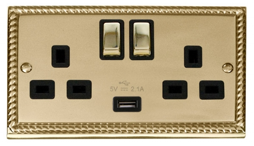 Click Deco Georgian Brass USB Double Switched Socket GCBR570BK