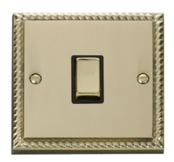 Click Deco Georgian Brass 20A Double Pole Switch GCBR722BK