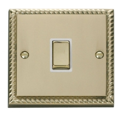 Click Deco Georgian Brass 20A Double Pole Switch GCBR722WH