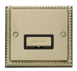Click Deco Georgian Brass Unswitched Fused Spur GCBR750BK