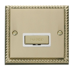 Click Deco Georgian Brass Unswitched Fused Spur GCBR750WH