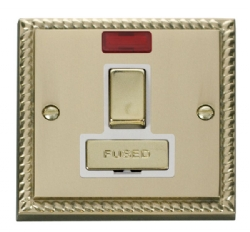 Click Deco Georgian Brass Switched Fused Spur + Neon GCBR752WH