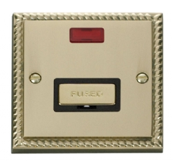 Click Deco Georgian Brass Unswitched Fused Spur + Neon GCBR753BK