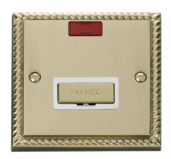 Click Deco Georgian Brass Unswitched Fused Spur + Neon GCBR753WH