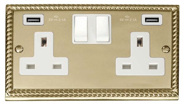Click Deco Georgian Brass Twin USB Double Socket GCBR780WH