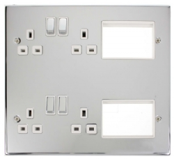 Click Polished Chrome MP606CHWH Semi-Modular 2x Double Socket