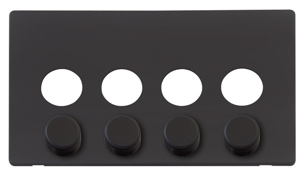 Click Definity 4 Gang Dimmer Switch Cover Plate & Knobs SCP244BK