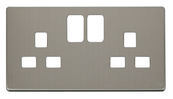 Click Definity 13A 2 Gang Switched Socket Cover Plate SCP436SS