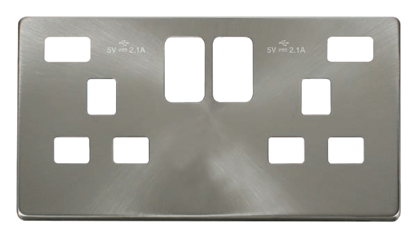 Click Definity Twin USB Double Socket Cover Plate SCP480BS