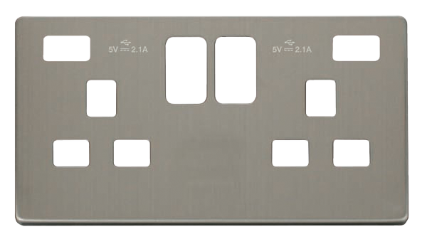 Click Definity Twin USB Double Socket Cover Plate SCP480SS