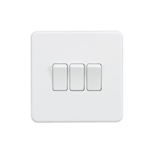 Knightsbridge Matt White 10A 3 Gang 2 Way Switch SF4000MW