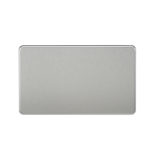 Knightsbridge Brushed Chrome Double Blank Plate SF8360BC